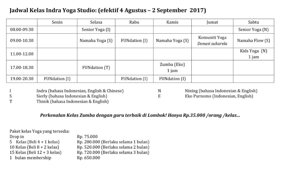 BaliSpirit Indra Yoga Studio Schedule