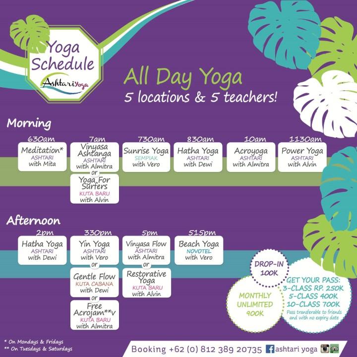 BaliSpirit Ashtari Yoga Schedule