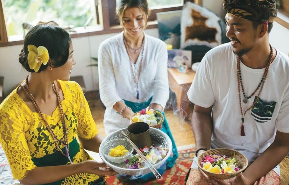 Making Aum Rudraksha malas in Bali