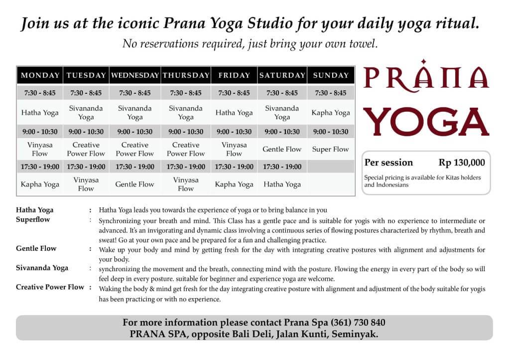 BaliSpirit Prana Yoga Schedule