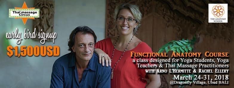 Rachel and Arno's functional anatomy course in Ubud, Bali early bird price