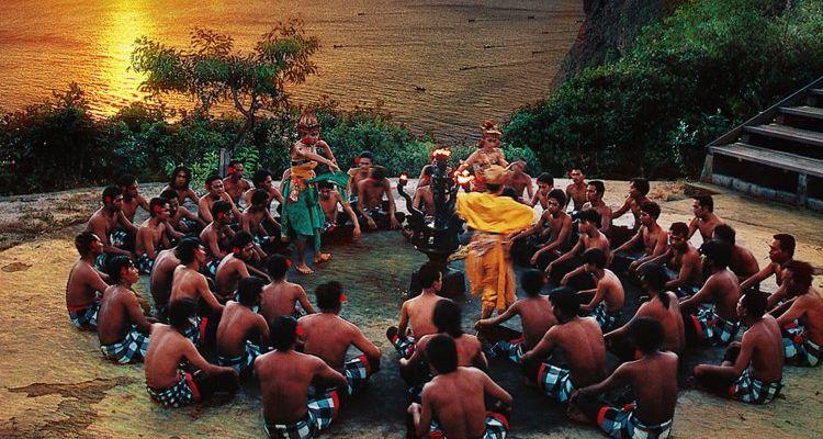 Kecak dance in Uluwatu. Traditional Balinese dance with men, chanting and fire