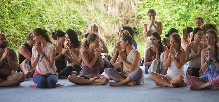 Yogis practicing yoga at BaliSpirit Festival Ubud Bali