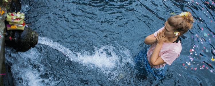 Tirta Empul water blessing ritual in Ubud Bali