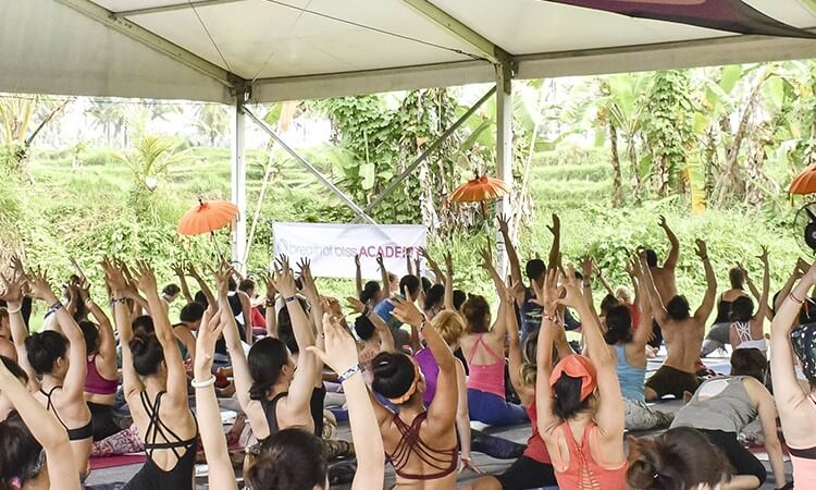 vinyasa class at yoga festival BaliSpirit Festival in Ubud