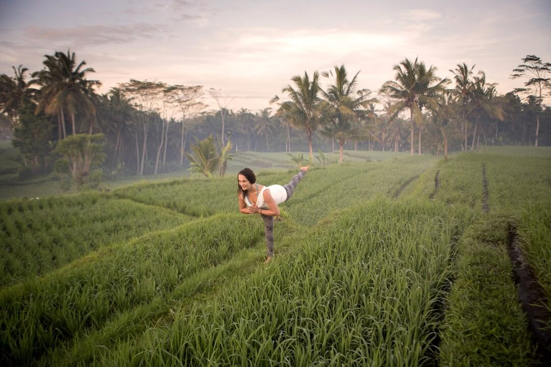 Yoga in the ricefields in Bali yoga photography session with Ulrike Reinhold