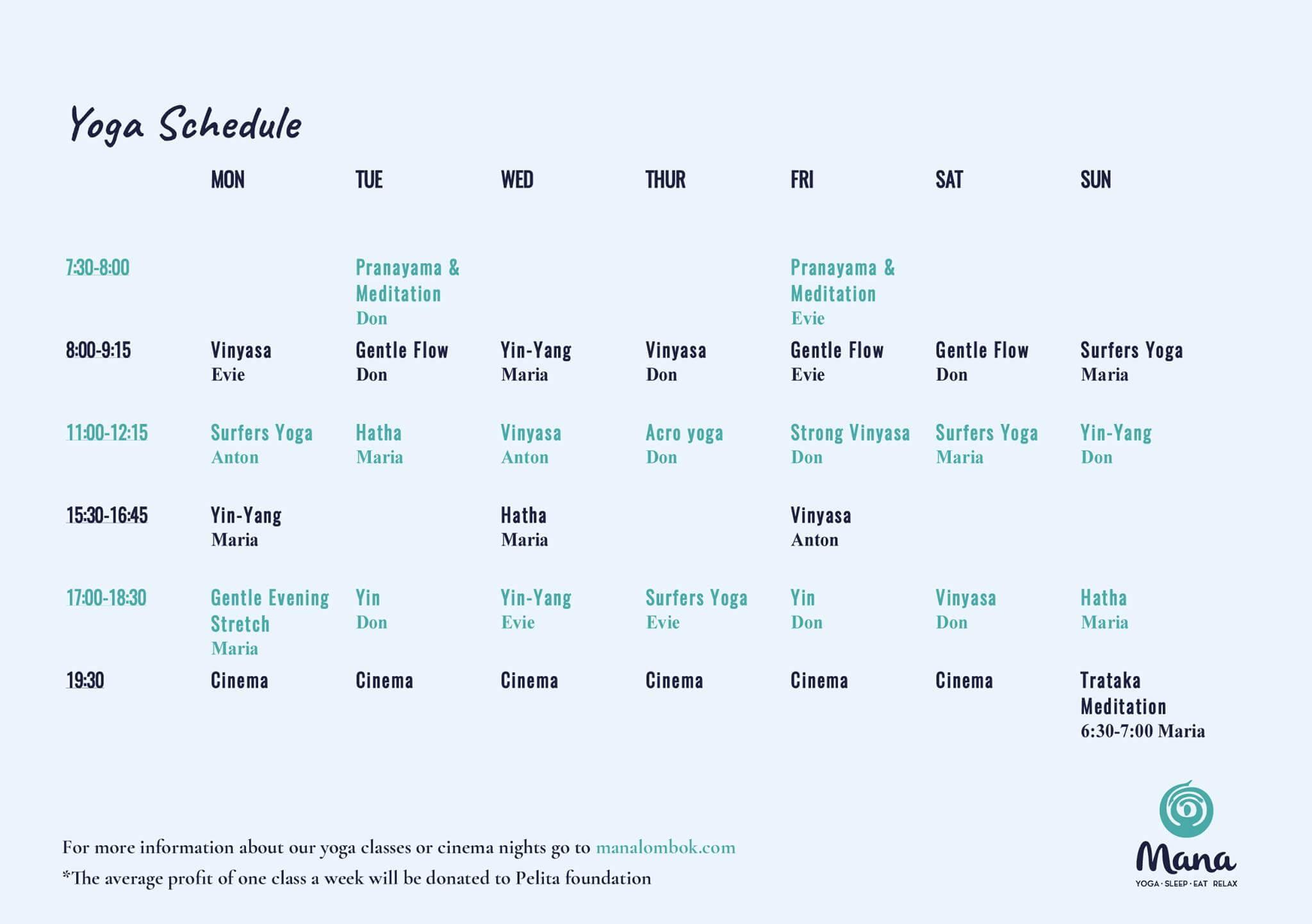 baliSpirit mana yoga studio Schedule