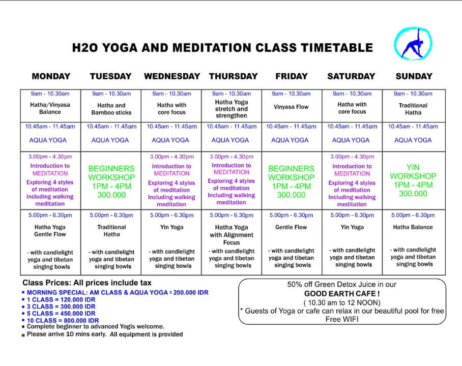 baliSpirit h20 yoga and meditation centre gili air Schedule