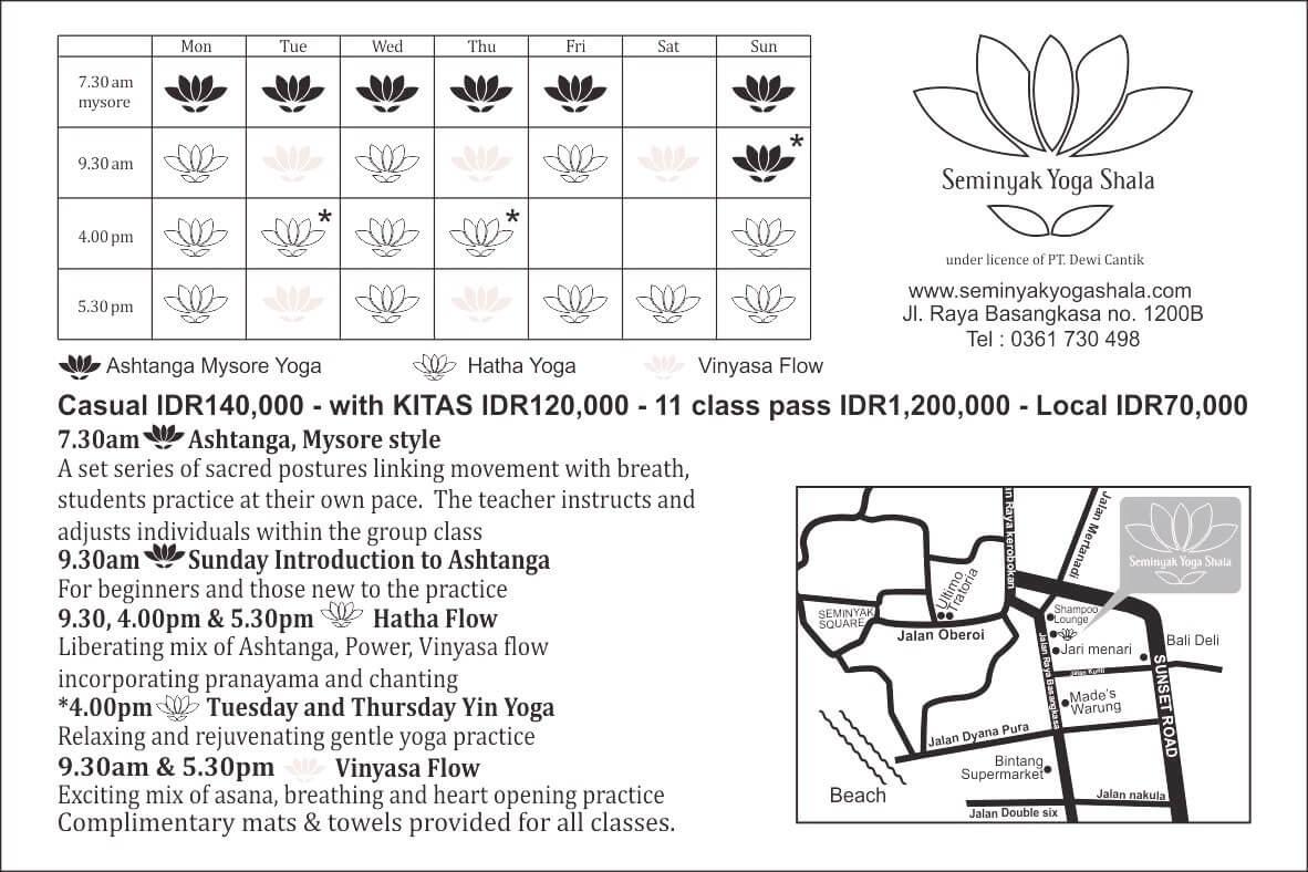 baliSpirit seminyak yoga shala Schedule